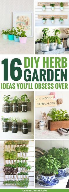 These DIY herb garden ideas are the BEST! Finally found herb gardens that look good and they're so easy to do for indoors and outdoors. Includes recycled planters, containers, pots using mason jars and much more. Even rental apartment owners will go crazy
