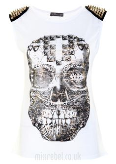 Spike Detail Skull Face Casual Top - Womens Clothing Sale, Womens Fashion, Cheap Clothes Online | Miss Rebel