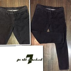 """7 For All Mankind Black Skinny Jeans Good condition. Subtle silver glitter thread detailing. Logo hardware. Skinny jeans. SZ 10. Color: black. Material: cotton, polyester, spandex. Approx measurements taken with item laying flat-no stretching-on one side. Waist: 16"""". Length: 38"""". Inseam: 28-28.5"""". Front rise: 9"""". Item:pma5.   1 business day handling - FAST SHIPPING. 7 for all Mankind Jeans Skinny"""