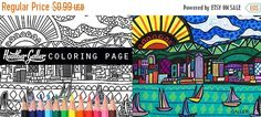 60% Off Sale- San Diego California Skyline City Coloring Book Pages, Adult Coloring Cityscape Printable Instant Download
