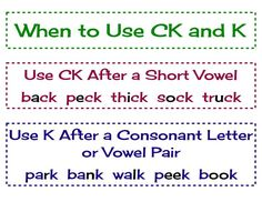 "English spelling with "" ck"" and ""c"" with images to share - Google Search"