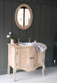 Modern styles aren't for everyone and this beautiful, vintage bow fronted cupboard proves reclaimed furniture can make a striking addition to a bathroom. Cheap Bathrooms, Budget Bathroom, Bathroom Ideas, Cheap Furniture, Bathroom Furniture, Furniture Ideas, Bathroom Cupboards, Glass Shower Enclosures, Victorian Bathroom