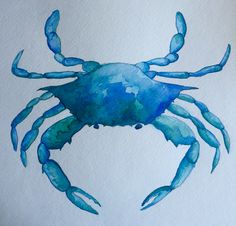 Watercolor of blue crab, by Lynn Egigian