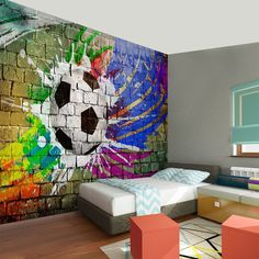 Ideas for your Nursery Furniture: Football Design Football is one of the top sports in the world. Graffiti Bedroom, Graffiti Wall, Soccer Bedroom, Kids Bedroom, Boys Bedroom Wallpaper, Football Rooms, Cool Bedrooms For Boys, Football Design, Bedroom Themes