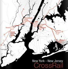 "The visionary ""New York-New Jersey CrossRail"" plan would solve the trans-Hudson problem that's afflicting New Jersey commuters and Amtrak passengers and result in many billions of dollars of investment along new and improved rail lines running between Newark Liberty International Airport to the west and Long Island City and points to the east in Queens. Created by the University of Pennsylvania School of Design."