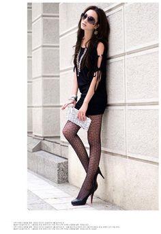 little black dress/black lace tights
