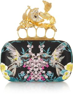 Knuckle Embroidered Satin Box Clutch - Lyst