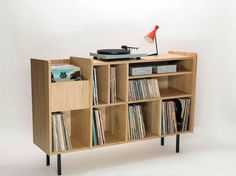 10 incredible record player consoles to reimagine your living space - The Vinyl… Record Player Console, Record Shelf, Record Cabinet, Vinyl Record Storage, Lp Regal, Vinyl Shelf, Home Music Rooms, Diy Furniture, Furniture Design