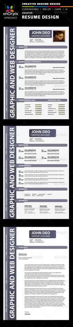 "Creative Resume  #GraphicRiver         Features : easy to edit. optimized for printing / 300 dpi. Cmyk color mode. A4 (8.5×11) inch Dimention + 0.25 Bleed included files are ai ,eps , png & help.txt. all ai(illustrator) files are layered, so,you can easy to edit. Adobe Illustrator CS3 version. Font used = Myriad Pro  	 Please don't forget to rate my items      Thank you   	 a href=""graphicriver /collections/4075051-business-card?page=1&sort_by=average_rating&type_id=4075051&utf8=%E2%9C%93""…"