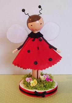 Ladybug peg doll