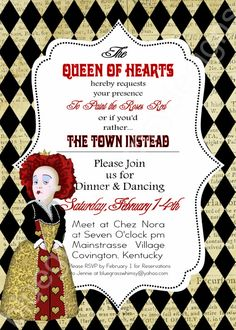 QUEEN OF HEARTS/ Alice in Wonderland Valentine's Day Invitation by BluegrassWhimsy on Etsy, $15.00