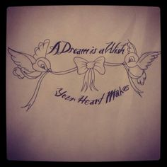 A dream is a wish your heart makes birds banner tattoo