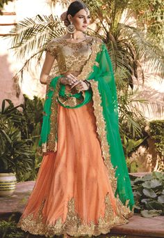 #Orange #Lycra #Glitter #Semi #Stitch #Lehenga with #Choli And #Dupatta.  Orange Lycra Glitter flared Semi Stitch lehenga designed with Resham Embroidery And Lace Work With Butta Work.   INR: 7,437.00  With Exclusive Discounts  Grab:http://tinyurl.com/jdlj8fc