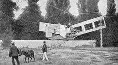 Resultado de imagem para 14 bis   Em 29 de julho, utilizando a força de um asno, Santos Dumont içou o Oiseau de Proie por meio de um sistema de cabos até o alto de uma torre de 13 metros