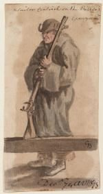A sailor sentinel on the Pallas's gangway. The drawing was probably made at Portsmouth before the 'Pallas' sailed for Africa, or possibly at Tenerife. The man carries what is probably a sea-service musket and wears a great-coat - probably also one issued to him rather than his own.