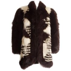 Preowned Yves Saint Laurent Oversized Wild Fox Coat, Circa 1980s ($6,601) ❤ liked on Polyvore featuring outerwear, coats, black, fur puffer coats, fur coat, oversized coats, puffer coat, checkered coat and oversized fur coat