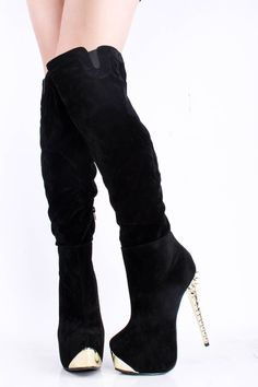 99c3de31a8f Shop Glamorous Flocking Closed Toe Zipper Stiletto Heel Knee High Boots on  sale at Tidestore with trendy design and good price. Come and find more  fashion ...