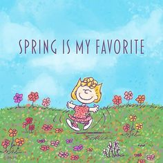 Spring is my favorite ~ Sally Brown @ Peanuts official Peanuts Cartoon, Peanuts Snoopy, Snoopy Love, Snoopy And Woodstock, Sally Brown, Snoopy Wallpaper, Peanuts Characters, Cartoon Characters, Snoopy Quotes