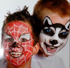 Pinturas cara: araña y lobo
