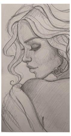 Girl Drawing Sketches, Girly Drawings, Dark Art Drawings, Art Drawings Sketches Simple, Pencil Art Drawings, Realistic Drawings, Cool Drawings, Sketch 4, Drawing Art