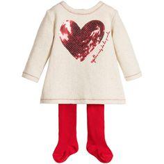 Agatha Ruiz de la Prada Gold Fleece & Red Sequin Heart Dress & Tights at Childrensalon.com