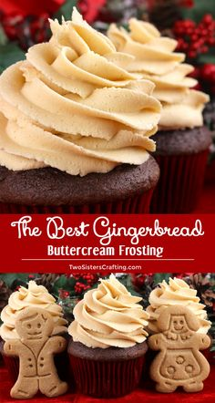 The Best Gingerbread Buttercream Frosting - a creamy frosting infused with iconic Christmas Gingerbread flavor. Great on so many different Holiday desserts! This yummy homemade butter cream frosting will take your Christmas treats to the next level, we pr Frosting Recipes, Cupcake Recipes, Baking Recipes, Cupcake Cakes, Dessert Recipes, Buttercream Cupcakes, Snacks Recipes, Best Frosting Recipe, Eggnog Cupcakes