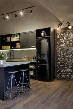 decoração com cimento queimado revestimento parede cozinha moderna cozinha industrial