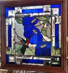 Stained Glass Window Art Panel Hummingbird Morning Glory Framed Tiffany Style | eBay