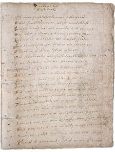 Paradise Lost original manuscript (1667) ~ by John Milton (1608 - 1674) ~ Blind and jobless, Milton sold world publishing rights to 'Paradise Lost' for £10, in 1667