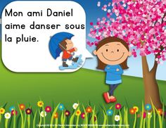 French spring easy reader: a girl talks about the spring activities her friends enjoy. The illustrations support students' understanding of the text. Easy Reader, Spring Activities, Teaching Ideas, French, Reading, In The Rain, Spring, French People, Word Reading