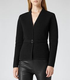 Mo Black/white Textural Knit Jacket - REISS