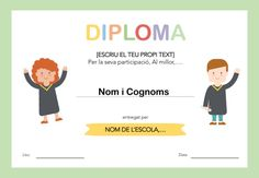 DIPLOMA ESCOLAR PER IMPRIMIR I EDITAR English Resources, Family Guy, Easter, School, Character, Frases, Comprehension Exercises, Magic Tricks, Reading Comprehension
