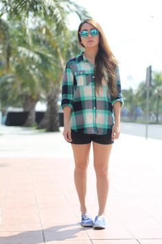 Plaid shirt and shorts, Forever 21 • Sunnies, K8 Los Angeles • Shoes, Vans    MORE ABOUT THIS LOOK AT http://www.thestyleflux.blogspot.com/