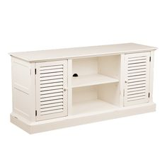 This antique-style white media stand will give your room a stylish touch while providing a handy place to put your entertainment equipment. The sturdy top can support your large television, and the middle shelf houses a cord management hole.