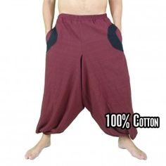 Baggy trousers red with 2 side pockets and fabric applications