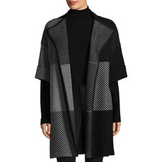 Lafayette 148 New York Jacquard Cardigan Coat (2,845 MYR) ❤ liked on Polyvore featuring outerwear, coats, cardigan jacket, cardigan coat, print coat, pattern coat and fur-lined coats