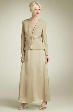 NWT Patra Gold Champagne dress set gown jacket suit 12 Mother of the Bride $218