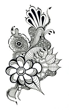 doodle floral drawing drawings sharpie pen flower easy designs doodles beginners draw cliparts trippy flowers zentangle clip arte seaweed illustration