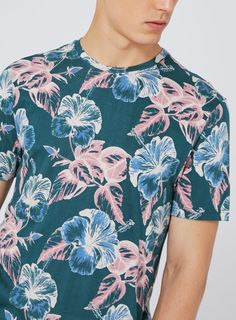 Navy Floral Print T-Shirt