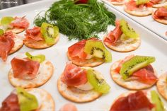 Goat Cheese, Prosciutto, Kiwi and a White Balsamic Drizzle  #appetizers #bitesize #partyfood