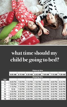 What time should my kid be going to bed? Handy chart with suggested bedtimes by age. :)