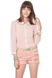 Double Peter Pan Collar Blouse  #shopsosie #top #peterpancollar #pink #cute #sweet #sheer #favorite #fashion #shop #spring
