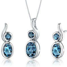 Bezel Set 2.75 carats Oval Shape Sterling Silver with Rhodium Finish London Blue Topaz Pendant Earrings Set Peora. $39.99