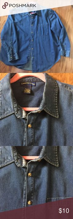 Charter Club Blue Denim L/S button up Shirt Charter Club 1X long sleeve,  button up front blue denim. Excellent condition Charter Club Tops Blouses