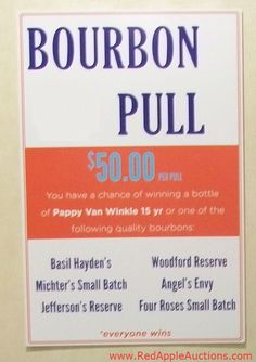 For fresh silent auction ideas in the way of auction games, look for a variation on a wine pull.   #bourbonpull