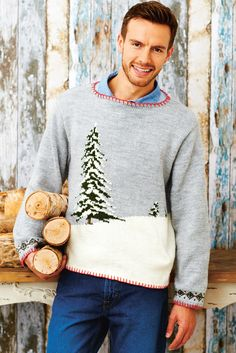Grey knitted Christmas sweater for a man with design of a pine tree in snow Mens Scarf Knitting Pattern, Fair Isle Knitting Patterns, Jumper Patterns, Dress Sewing Patterns, Knitting Designs, Baby Knitting, Knitting Projects, Mens Christmas Jumper, Knitted Christmas Jumpers