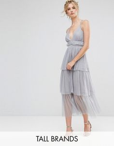 64ab5a2dcde4 Shop True Decadence Tall Premium Tulle Ruffle Layered Midi Dress With  Starppy Back Detail at ASOS.