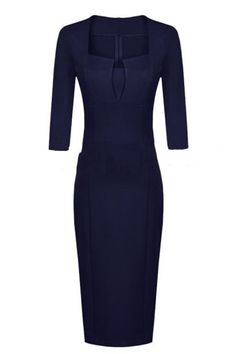 Elegant 7/10 Sleeve Square Neck Dress
