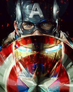 Captain America and Iron Man - Marvel Avengers, Marvel Comics, Arte Dc Comics, Marvel Fan, Marvel Heroes, Iron Man Captain America, Marvel Captain America, Iron Man Wallpaper, Die Rächer