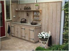 Paradise Outdoor Kitchens For Entertaining Guests Outdoor Grill Area, Outside Grill, Rustic Outdoor Kitchens, Outdoor Kitchen Design, Dining Furniture, Rustic Furniture, Backyard Bar, Inside Home, Patio
